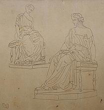 Atelier d'Eugène DELACROIX - Statues antiques - feuille d'étude.