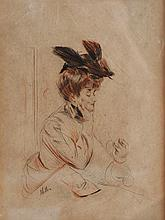 Paul César HELLEU - Portrait de Madame Doriac - Eau-forte originale..