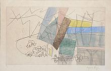Suzanne ROGER - Bergers et moutons - gravure en couleurs (insolation).