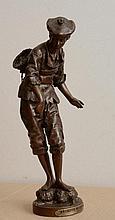 Eutrope BOURET - Pêcheur de crabe - bronze à patine brune (usures...