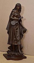 Eutrope BOURET - Mignon - bronze à patine brune nuancée de roux...