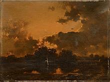 Alberto PASINI - Mare au crépuscule - huile sur toile (restaurations.