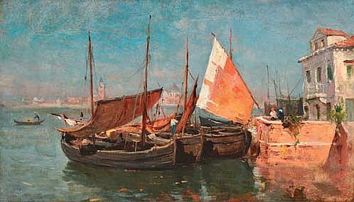 APPIAN Adolphe, 1818 -1898 Voiliers à Venise huile sur papier marouflé sur toile (usures et restaurations), signé en bas à gauche,  28,5 x 49 cm.