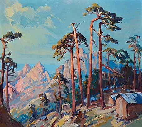 BACH Pierre, 1906 -1971 Pins et montagnes au bord de mer huile sur toile, signée en bas à droite,  50 x 65 cm.