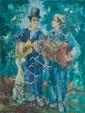 CREIXAMS Pedro, 1893 -1965 Les musiciens ambulants au chien huile sur toile (traces de craquelures), signée en bas à gauche,  61 x 46 cm.