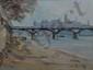 CHERUBINI Carlo, 1897-1978 La passerelle des Arts huile sur toile, signée en bas à droite,  46 x 61 cm.