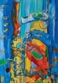 FRIDRIKS Katrin, née en 1974 Petit aquarium n° 2, VI 1996 Technique mixte et peinture sur toile, signée en bas à droite, signée et titrée au dos avec le cachet de l'artiste,  61 x 46 cm.