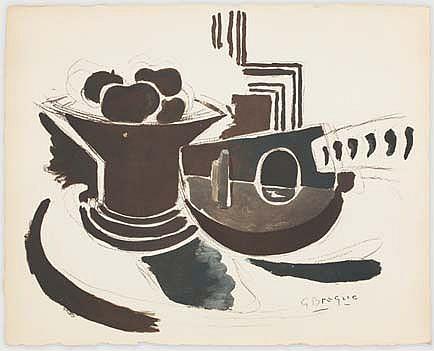 BRAQUE Georges et VERDET André Espace, Paris 1957 suite de treize procédés Jacomet dans leur carton d'origine orné par G. Braque, exemplaire n° 49 / 300 (traces d'insolation), préface d'André Verdet, édition Au Vent d'Arles, Paris 1957, signatures