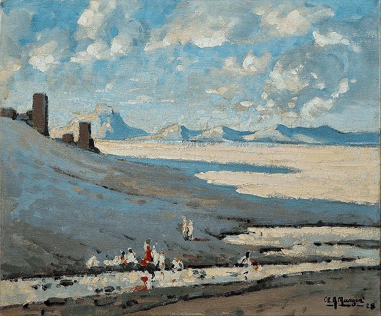 MANGIN Charles Auguste, 1853 -1935 Plaine orientale, 1928 huile sur toile, signée et datée en bas à droite,  54 x 65 cm.