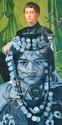 ERRO, né en 1932 Portrait à la beauté orientale, 1987 huile sur toile, signée et datée au dos,  99 x 49 cm.