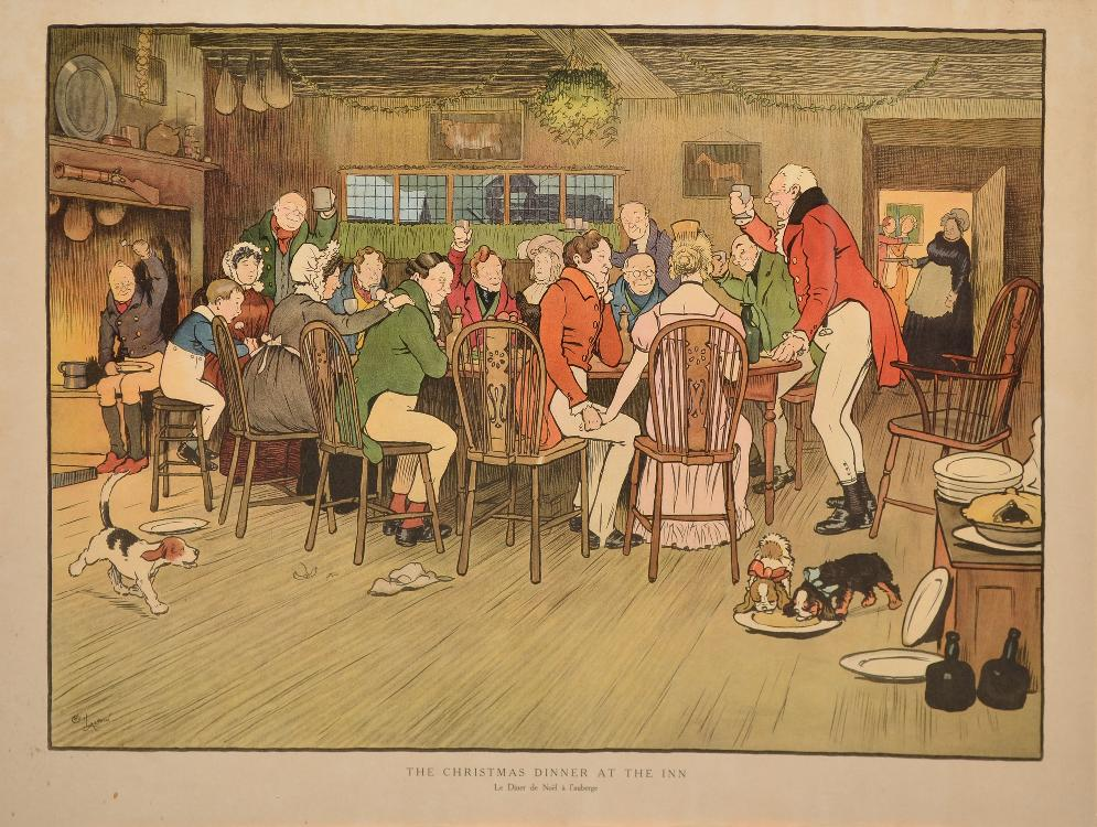 ALDIN Cecil, 1870 -1935 Arrêtés par la neige un soir de Noël - Le dîner de Noël à l'auberge paire de gravures en couleurs (petites rousseurs), signées en bas à gauche dans la planche,  30 x 50 cm chaque.