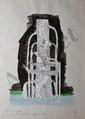 LATAPIE Louis, 1891-1992 Fût de colonne habillé de mosaïque de marbre blanc projet décoratif à l'aquarelle et rehauts de gouache blanche (traces de plis), monogramme en bas à droite, titre en bas à gauche,  35 x 25 cm.