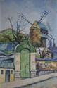 MACLET Élisée, 1881-1962 Le Moulin de la Galette huile sur toile de remploi, signée en bas à droite,  65 x 43 cm.