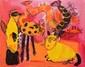 MIRZA Reza, né en 1982 Chatons peinture sur toile, signée en bas à gauche, signée et titrée au dos,  73 x 92 cm.