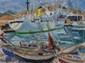 PONCELET Maurice Georges, 1897-1978 Yacht en Méditerranée, 1954 huile sur toile, signée et datée en bas à droite,  60 x 81 cm.