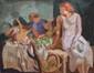 PONCELET Maurice Georges, 1897-1978 Retour du marché huile sur toile, signée en haut à gauche,  40 x 50 cm.