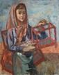 PONCELET Maurice Georges, 1897-1978 Marchande d'oiseau, 1939 huile sur toile (petits manques), signée et datée en bas à droite,  73 x 60 cm.