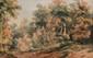 RANSONNETTE Charles, 1793 -1877 Clairière aquarelle, signée en bas vers le milieu,  14,5 x 23,5 cm. Ancienne provenance : Collection Pierre MIQUEL.