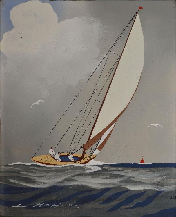 HAFFNER Léon, 1881-1972 Voilier en régate pochoir à la gouache, signé en bas à gauche, porte un n° Y21 en bas à droite,  32,5 x 26,5 cm.