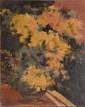 SABATER Y SALABERT Daniel, 1888 -1951 Bouquet jaune et vert, Paris 1929 ( ?) huile sur carton (griffes), signé, situé et daté en bas à gauche, 61 x 50 cm.