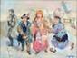 SPITZER Walter, né en 1927 Mardi Gras huile sur toile, signée en bas à droite, signée et titrée au dos, 46 x 61 cm.