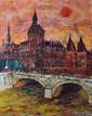 SZULMAN François, né en 1931 La Conciergerie au crépuscule, 1968 huile sur toile, signée et datée en bas à droite, située au dos, 81 x 66 cm.