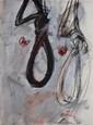 VELIKOVIC Vladimir, né en 1935 Les noeuds coulants, 1991 technique mixte sur papier, signé et daté en bas à droite,  34 x 25 cm.