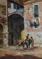 VERSTRAETEN Alfons, né en 1922 Ânes à Pigna, Italie, 1961 huile sur toile, signée en bas à droite, située et datée au dos, 80 x 60 cm.