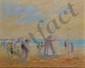 WIELHORSKI Alain, né en 1950 Plage de Trouville huile sur toile, signée en bas à droite, titrée au dos avec le cachet de l'artiste,  33 x 41 cm.