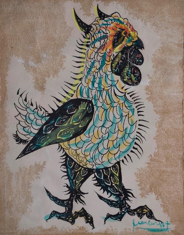 LURÇAT Jean, 1892 -1966 Oiseau lithographie et rehauts d'aquarelle, signée en bas à droite, 62 x 49 cm.