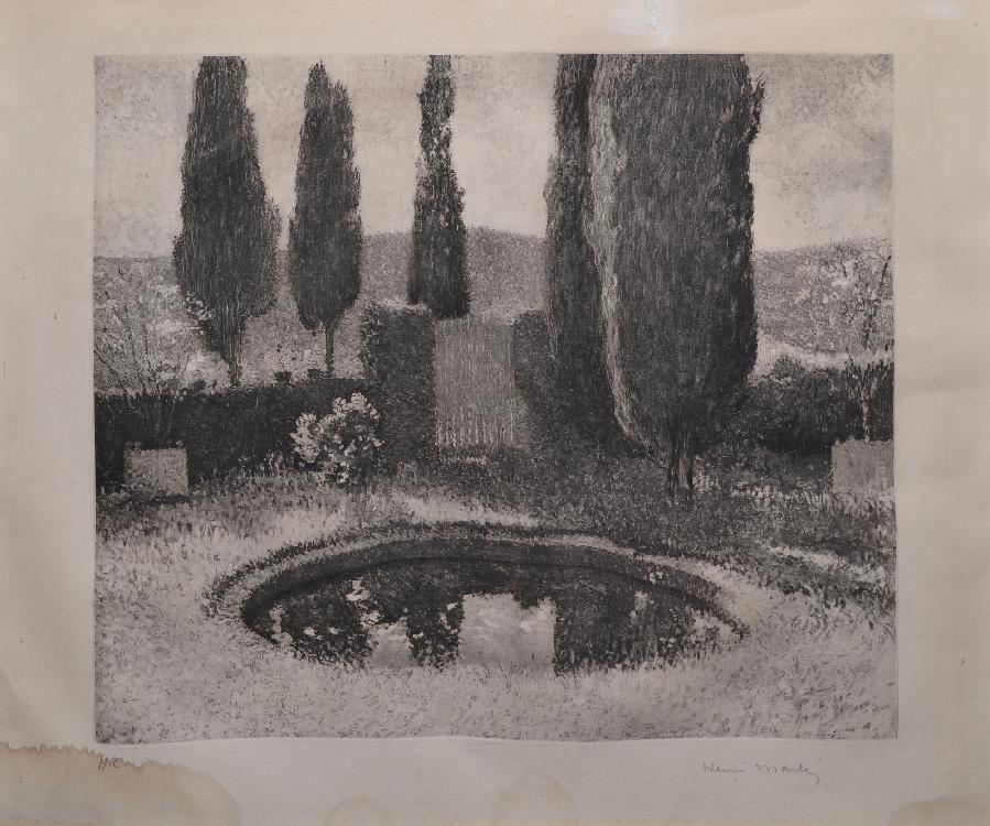MARTIN Henri, d'après Le bassin de Marquayrol gravure d'interprétation en noir, H.C. (traces d'humidité et restaurations), signée en bas à droite,  39 x 46 cm.