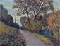 ALTMANN Alexandre, 1885 -1934 Chemin en automne, le clocher de Meudon huile sur toile, signée en bas à droite, située sur le châssis,  50 x 65 cm.