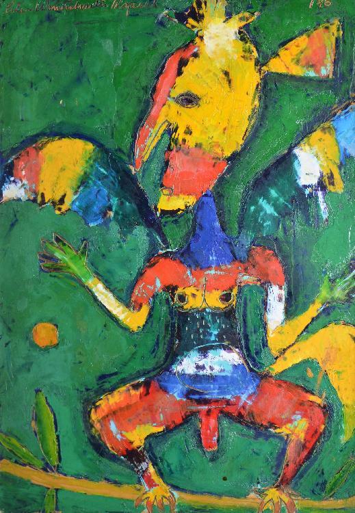 ASPELL Peter, 1918 - 2004 Birdman, 1987 huile sur papier marouflé sur carton, signé en haut à gauche, étiquette au dos : Galerie 1900 - 2000, Paris - Gallery Moos, Toronto et New-York,  à vue : 30 x 21 cm.