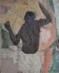 BACOULES Jean-Désiré, 1886 -1976 Porteur africain - Modèle blond de dos huile sur carton double face (petits manques, piqûres et restaurations), signé en bas à droite au verso,  46 x 38 cm.