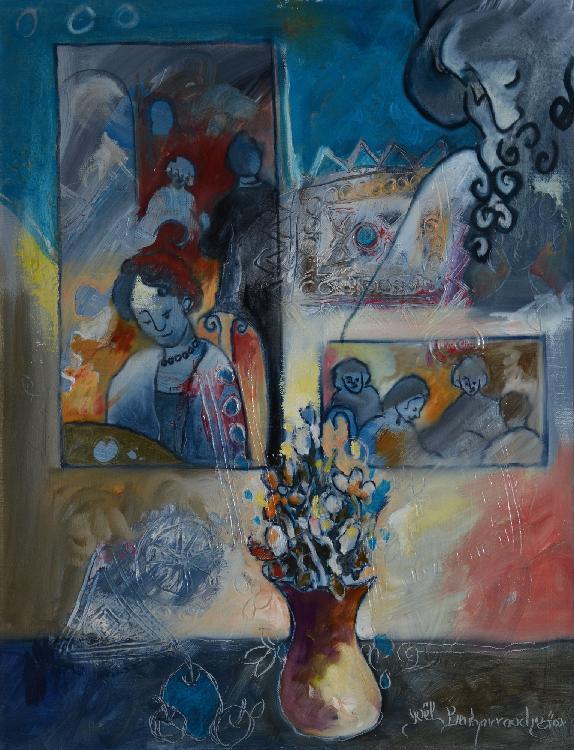 BENHARROUCHE Yoel, né en 1961 Ouvertures célestes, 2002 huile sur toile, signée et datée en bas à droite, signée et titrée au dos,  61 x 50 cm.
