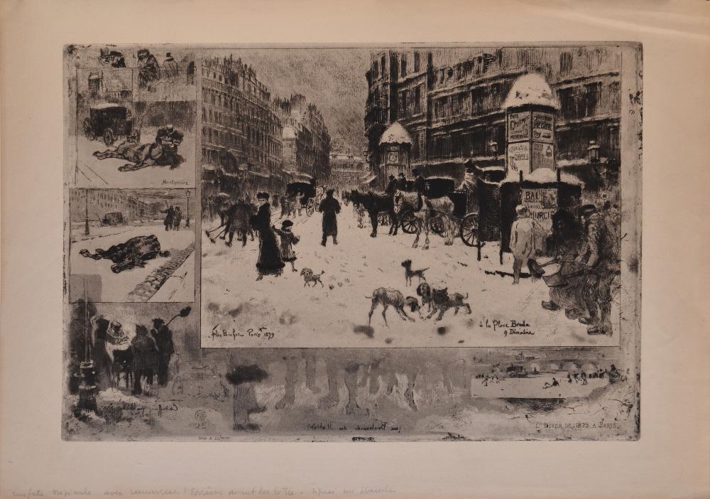 BUHOT Félix, 1847-1898 L'hiver à Paris, 1879 eau-forte en noir (petites rousseurs), signée et datée en bas à gauche dans la planche, monogramme en bas à gauche dans la planche, Salmon Imp.,  24 x 35 cm.