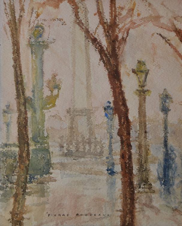 BORDEAUX Pierre, 1904 -1995 La place de la Concorde aquarelle, signée en bas au milieu, 25,5 x 21 cm.