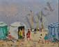 BOUYSSOU Jacques, 1926 -1997 Plage aux cabines huile sur toile, signée en bas à gauche, titrée au dos,  22 x 27 cm.