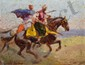 BRONDY Matteo, 1866 -1944 Cavaliers orientaux au galop huile sur panneau, signé en bas à gauche,  19 x 24,5 cm.