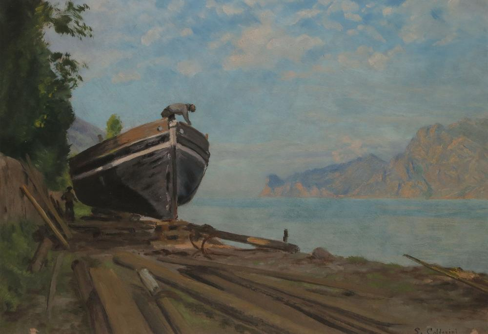 CALDERINI Luigi, 1880 / 81-1973 Chantier naval au bord d'un lac huile sur papier, signé en bas à droite,  29 x 39 cm.
