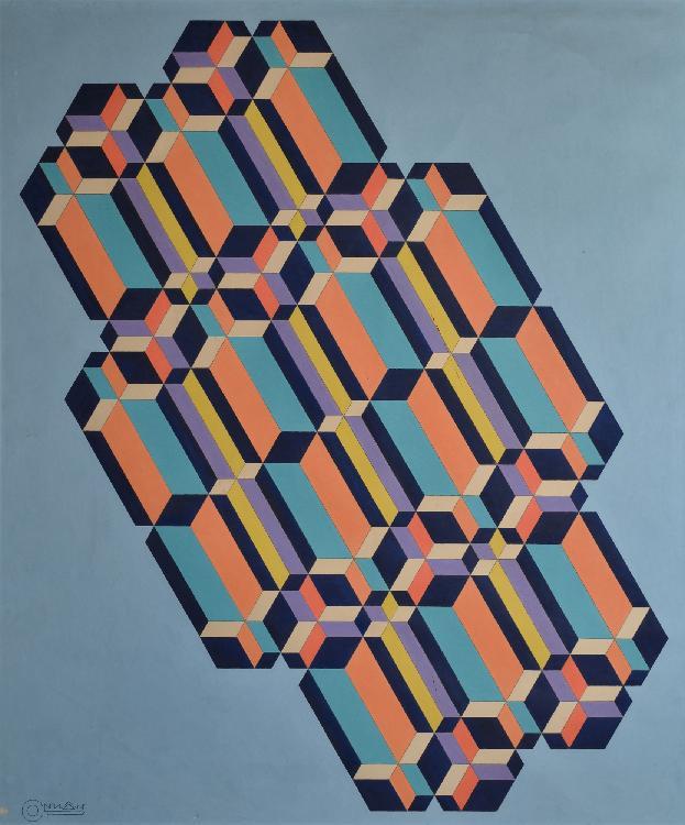 CONNAN Georges, 1912 -1987 Composition cinétique peinture sur papier (taches et traces de plis), signé en bas à gauche,  116 x 98 cm.
