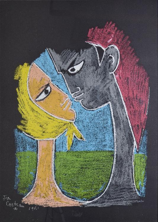 COCTEAU Jean, 1889 -1963 Couple de profil, 1961 lithographie en couleurs sur papier noir, n° 261 / 300, signé et daté en bas à gauche dans la planche, 60 x 45 cm.