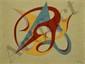 DAPRAI Jean, né en 1929 Sans titre fond jaune, 1960 huile sur toile (petits manques et craquelures), signée et datée en bas à droite,  46 x 61 cm.