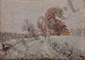 DREVON Jean, 1899 -1978 Route enneigée, 2 -1- 34 huile sur toile marouflée sur panneau, signée et datée en bas à droite,  33 x 46 cm.