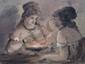 DUPENDANT, né vers 1835 Mousquetaire - Deux filles deux aquarelles gouachées sur papier gris, signées en bas à droite,  25,5 x 16,5 et 17 x 23 cm.