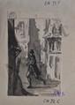 ÉCOLE ROMANTIQUE Scènes troubadour quatre projets d'illustrations au lavis d'encre noire et rehauts de gouache blanche, portent les cachets des collections Louis Maudet (L. 3582) et Nicos Dhikeos (L. 3529),  environ 10 x 7 cm chaque.