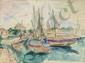 EPSTEIN Henri, 1892 -1944 Port aquarelle, signée en bas à gauche,  41 x 55,5 cm.