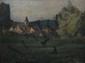 ESCHEMANN, XXe siècle Fillette dans un champs devant un village, 1911 huile sur toile, signée et datée en bas à droite,  60 x 81 cm.