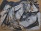 GREUELL Arthur, 1891-1966 Nu au drap, 1932 pierre noire et craie blanche sur papier beige, signé et daté en bas à droite,  48,5 x 64 cm.