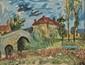 KISCHKA Isis, 1908 -1973 Paysage à Vic-sous-Thil, près de Saumur en Auxois gouache, signée en bas à gauche,  49 x 64 cm.